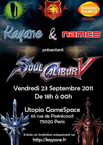 Session SoulCalibur 5 organisée par Kayane et NamcoBandai (Vidéos – 23/09/2011)